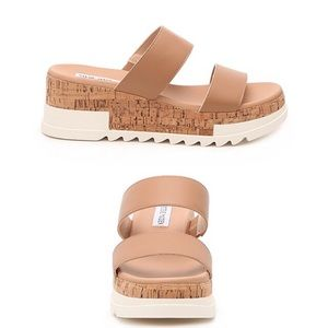 NEW Steve Madden Tan Blaine Wedge Sandal Size 6.5